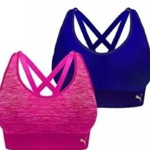 2 PUMA Women PINK BLUE Seamless Sport Bralette